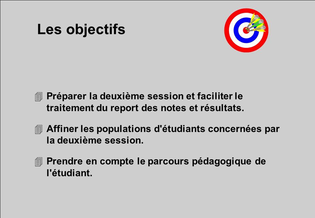 Les objectifs 4Préparer la deuxième session et faciliter le traitement du report des notes et résultats.