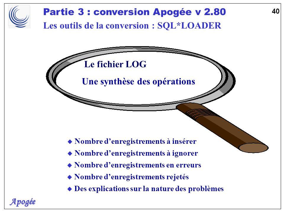 Apogée Partie 3 : conversion Apogée v 2.80 40 u Des explications sur la nature des problèmes u Nombre denregistrements à insérer u Nombre denregistrem