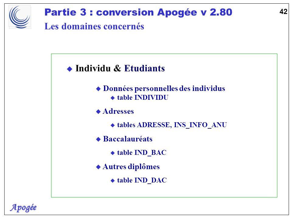 Apogée Partie 3 : conversion Apogée v 2.80 42 u Individu & Etudiants u Données personnelles des individus u table INDIVIDU u Adresses u tables ADRESSE