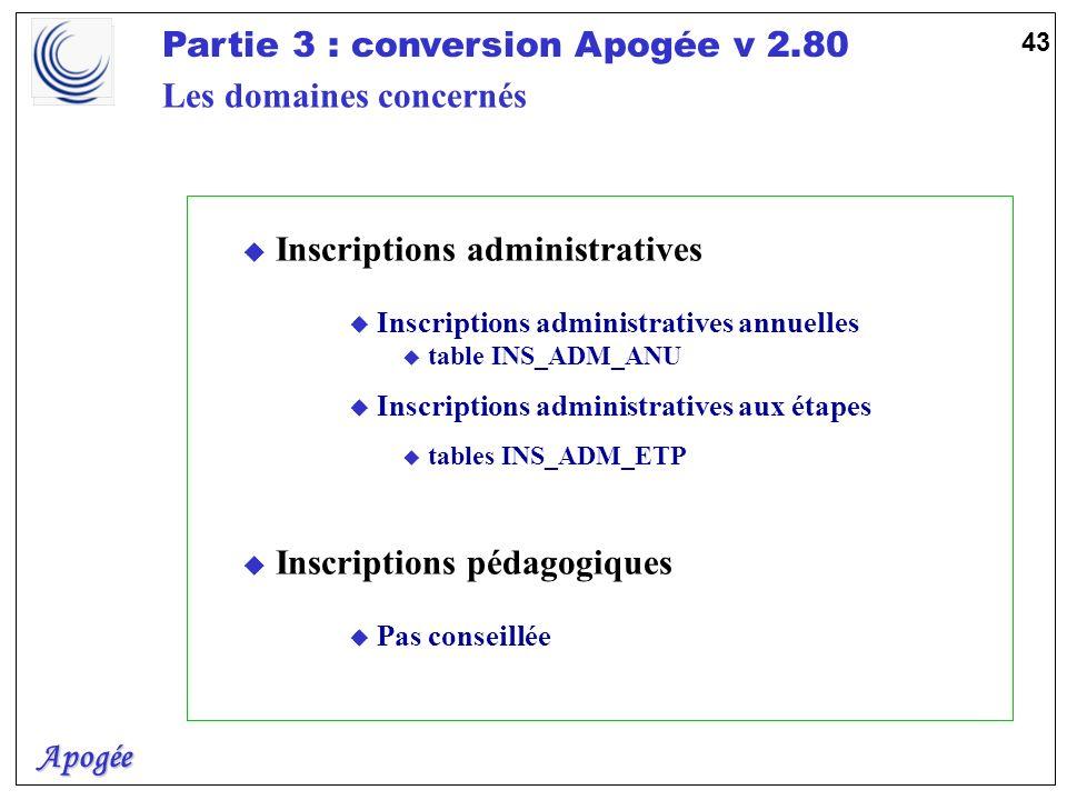 Apogée Partie 3 : conversion Apogée v 2.80 43 u Inscriptions administratives u Inscriptions administratives annuelles u table INS_ADM_ANU u Inscriptio
