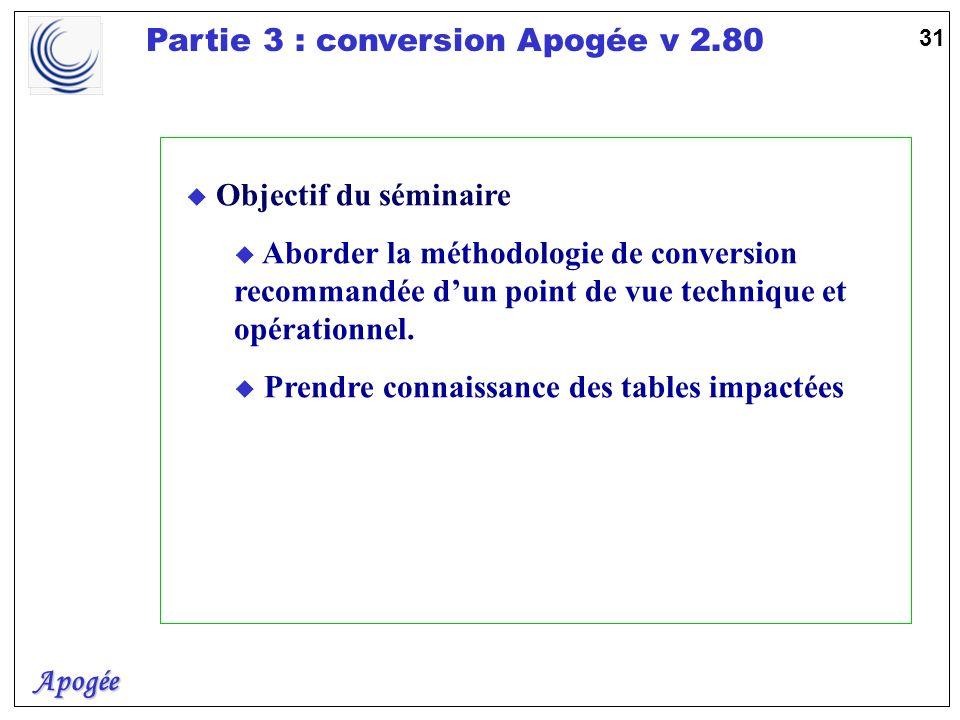 Apogée Partie 3 : conversion Apogée v 2.80 32 Le déroulement u Pré-requis u Diagnostic de lexistant u Les outils de la conversion u Les domaines concernés u La méthodologie proposée u Un exemple : INDIVIDU u Mise en place u Recommandations