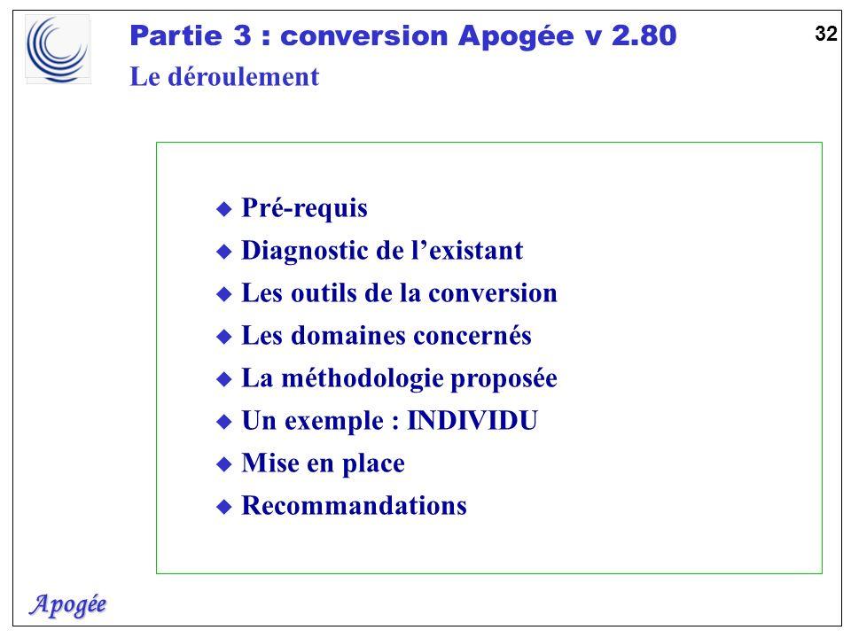 Apogée Partie 3 : conversion Apogée v 2.80 32 Le déroulement u Pré-requis u Diagnostic de lexistant u Les outils de la conversion u Les domaines conce