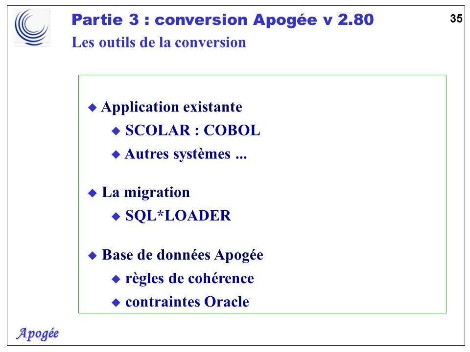 Apogée Partie 3 : conversion Apogée v 2.80 36 Fichier DATA (.dat) Enregistrements Lecture (.ctl) SQL*LOADER When clause SQL*LOADER RDBMS Enregistrements incorrects Enregistrements non sélectionnés Base de tests APOGEE Discard File (.dsc) Compte rendu (.log) Bad File (.bad) Correction Les outils de la conversion : SQL*LOADER