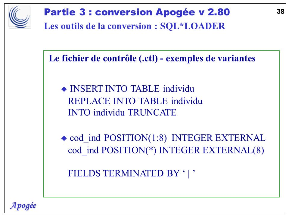 Apogée Partie 3 : conversion Apogée v 2.80 39 u Les fichiers DISCARD et BAD u DISCARD file (.dsc) u Uniquement alimenté par la clause WHEN u Indiquer un nombre maxi denregistrements u Ecrit dans le même format que le fichier DATA u BAD file (.bad) u Alimenté par SQL*LOADER u le moteur de la base u Egalement écrit dans le même format que le fichier DATA Les outils de la conversion : SQL*LOADER