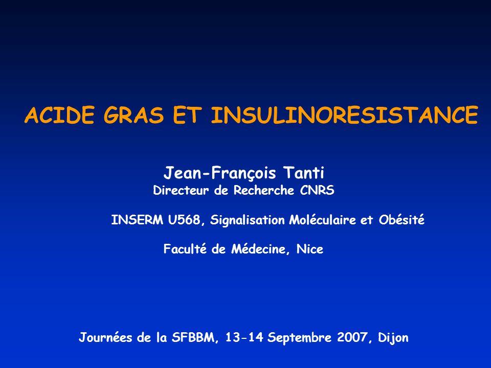 ACIDE GRAS ET INSULINORESISTANCE Jean-François Tanti Directeur de Recherche CNRS INSERM U568, Signalisation Moléculaire et Obésité Faculté de Médecine, Nice Journées de la SFBBM, 13-14 Septembre 2007, Dijon