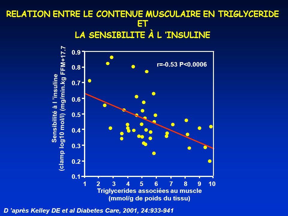 1 2 3 4 5678910 Triglycerides associées au muscle (mmol/g de poids du tissu) 0.9 0.8 0.7 0.6 0.5 0.4 0.3 0.2 0.1 Sensibilité à l insuline (clamp log10 mol/l) (mg/min.kg FFM+17.7 r=-0.53 P<0.0006 RELATION ENTRE LE CONTENUE MUSCULAIRE EN TRIGLYCERIDE ET LA SENSIBILITE À L INSULINE D après Kelley DE et al Diabetes Care, 2001, 24:933-941