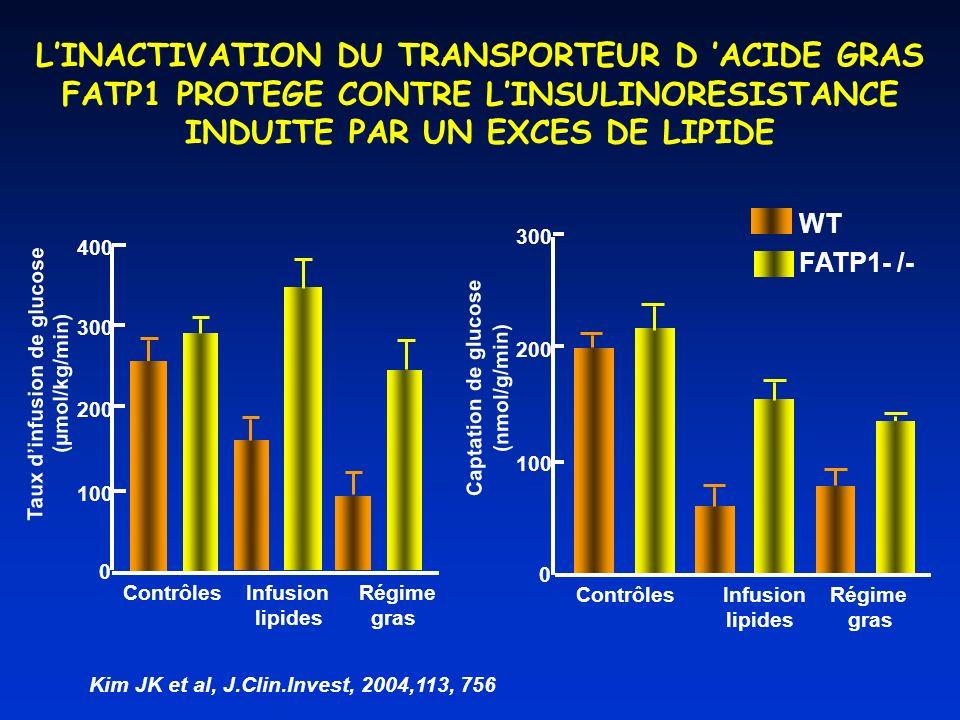 0 100 200 300 400 Contrôles Infusion Régime lipides gras Taux dinfusion de glucose (µmol/kg/min) Contrôles Infusion Régime lipides gras Captation de g