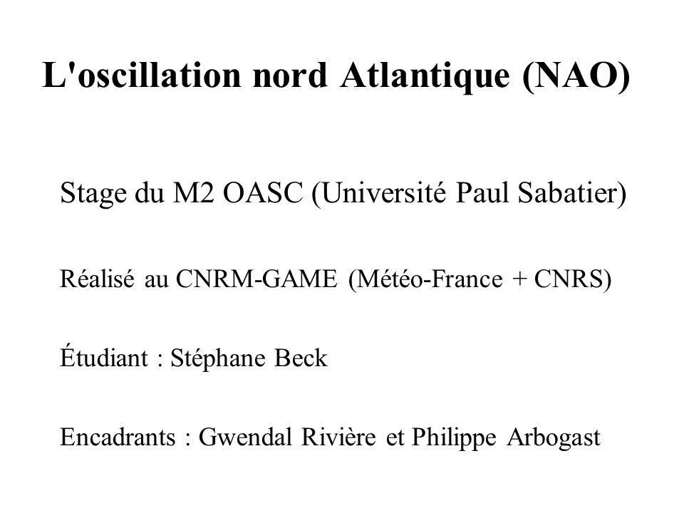 L'oscillation nord Atlantique (NAO) Stage du M2 OASC (Université Paul Sabatier) Réalisé au CNRM-GAME (Météo-France + CNRS) Étudiant : Stéphane Beck En