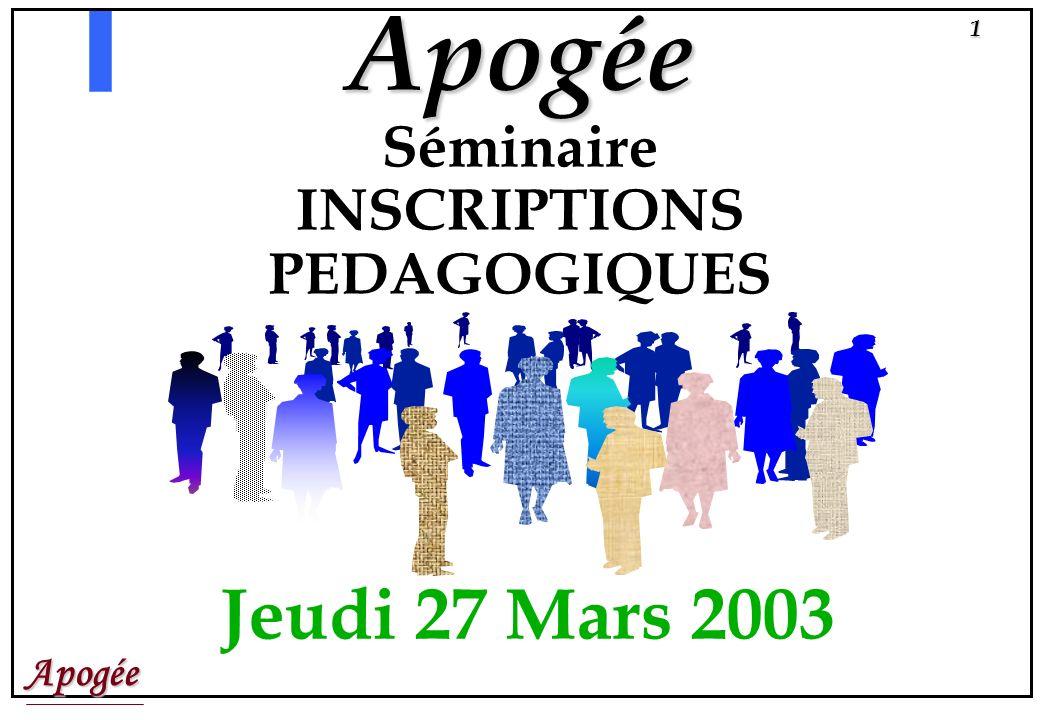 Apogée1 Apogée Séminaire INSCRIPTIONS PEDAGOGIQUES Jeudi 27 Mars 2003
