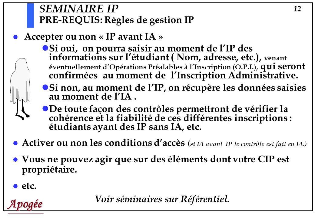 Apogée11 SEMINAIRE IP PRE-REQUIS Avant de faire des IP il faut absolument que vous ayez déjà défini et saisi Les règles de gestion correspondantes, La