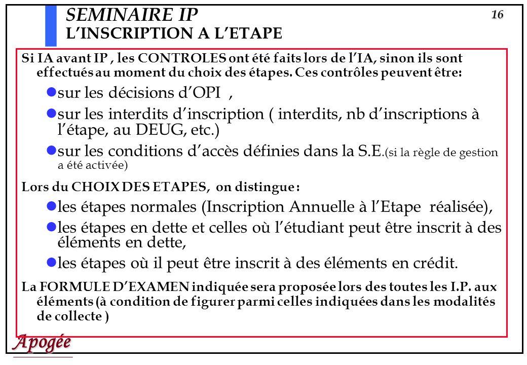 Apogée15 Inscriptions Pédagogiques à létape
