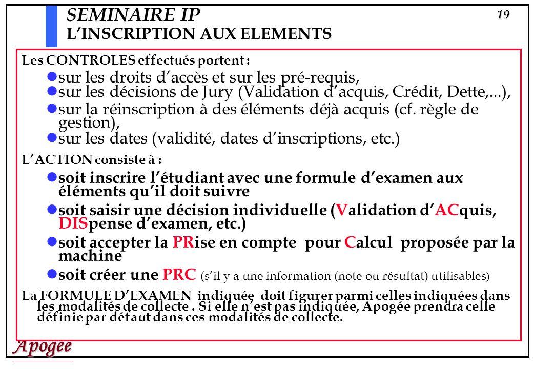 Apogée18 Inscriptions Pédagogiques aux éléments