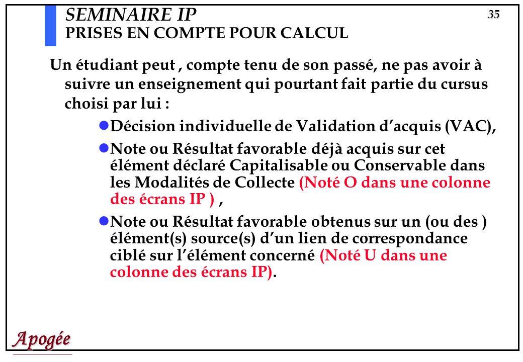 Apogée34 Prises en compte pour calcul PRC