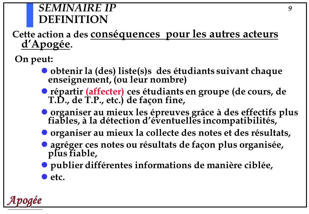 Apogée8 SEMINAIRE IP DEFINITION Ceci se traduit par un « contrat pédagogique » qui a : une trace lisible: la FICHE PEDAGOGIQUE et une autre fondamenta