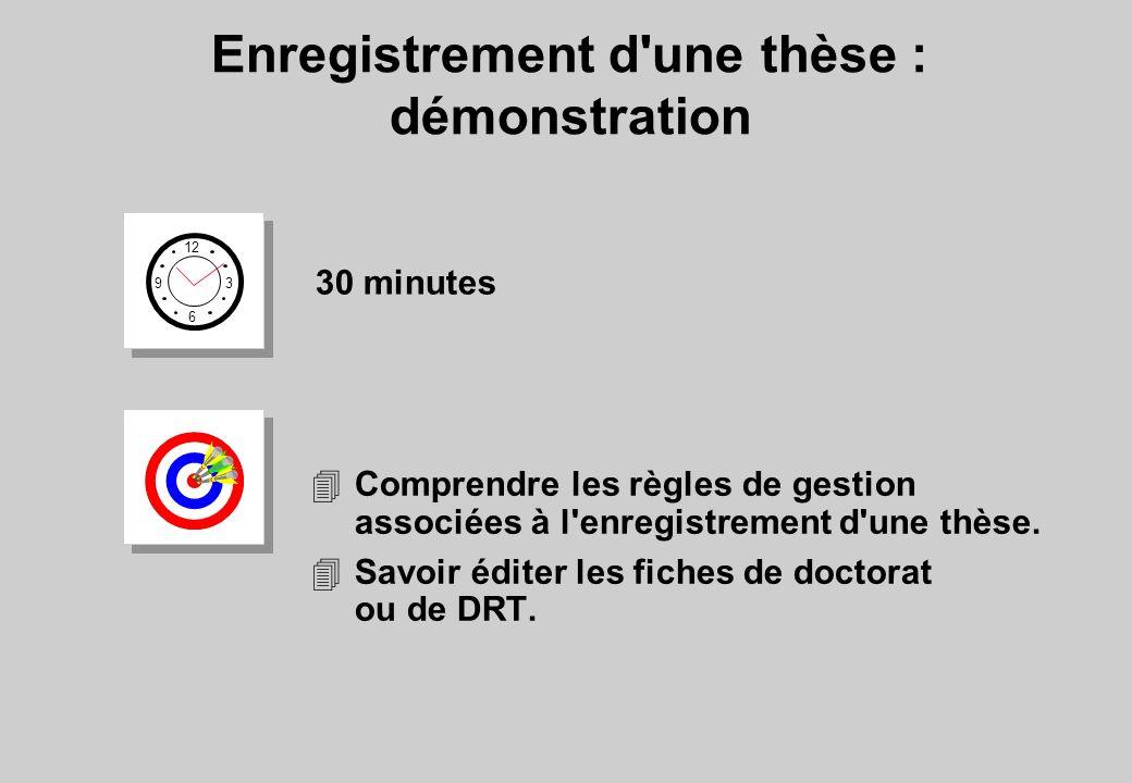 Enregistrement d'une thèse : démonstration 12 6 3 9 30 minutes 4Comprendre les règles de gestion associées à l'enregistrement d'une thèse. 4Savoir édi
