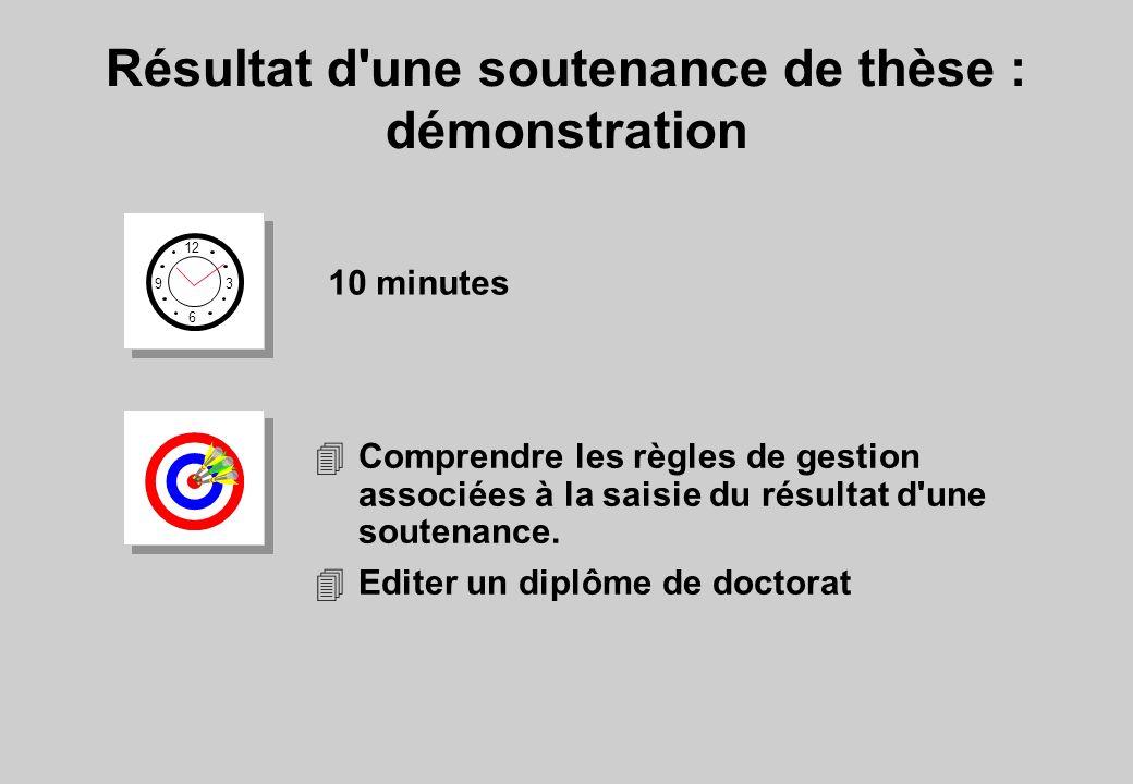 Résultat d une soutenance de thèse : démonstration 12 6 3 9 10 minutes 4Comprendre les règles de gestion associées à la saisie du résultat d une soutenance.