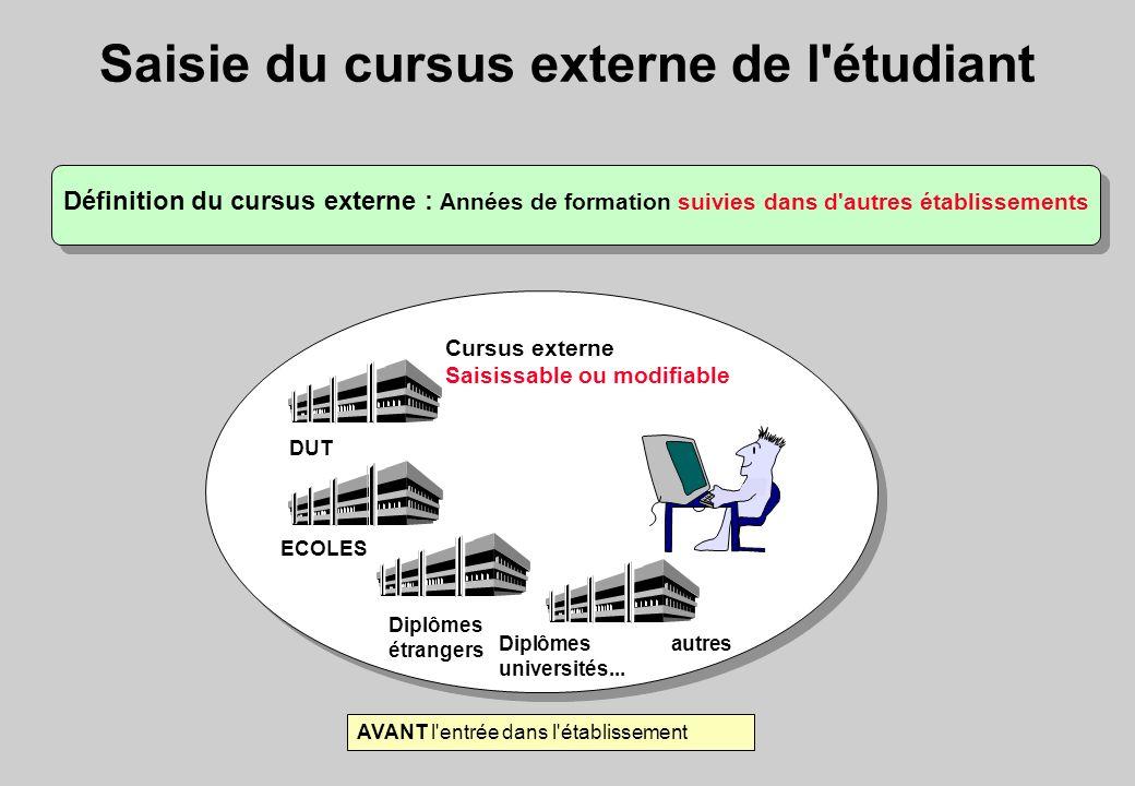 Saisie du cursus externe de l'étudiant Définition du cursus externe : Années de formation suivies dans d'autres établissements Cursus externe Saisissa