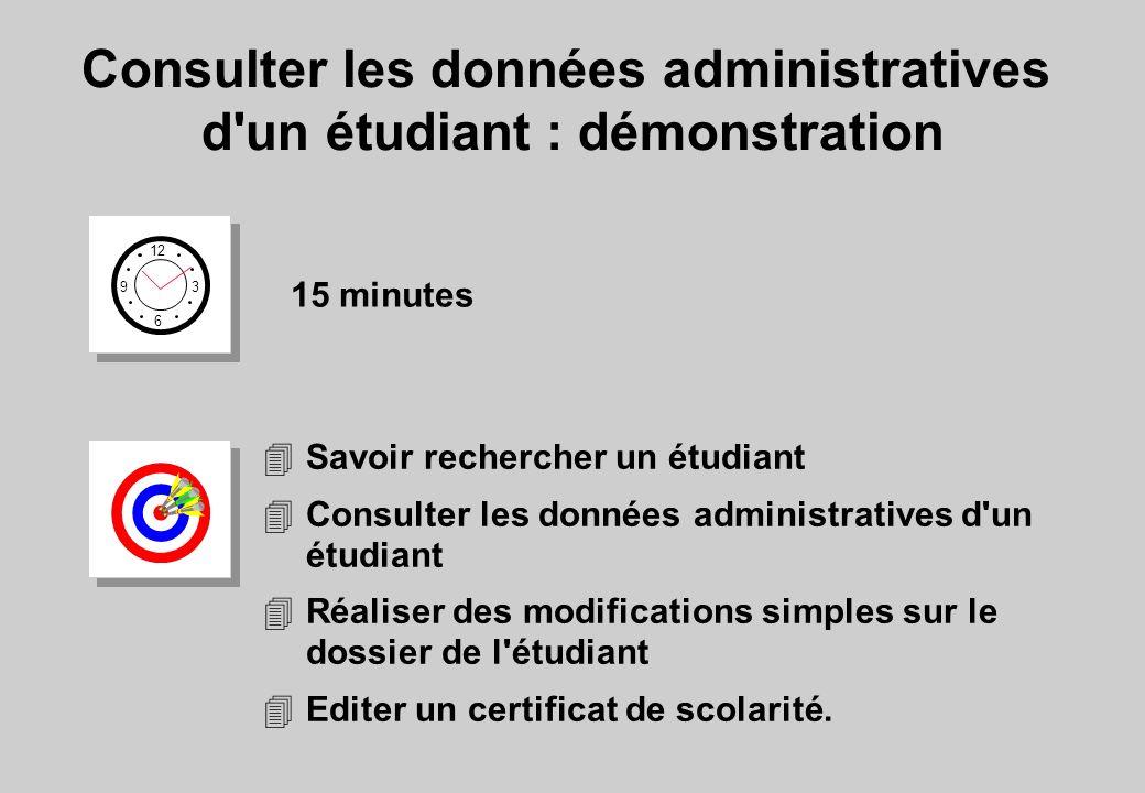 Consulter les données administratives d'un étudiant : démonstration 12 6 3 9 15 minutes 4Savoir rechercher un étudiant 4Consulter les données administ