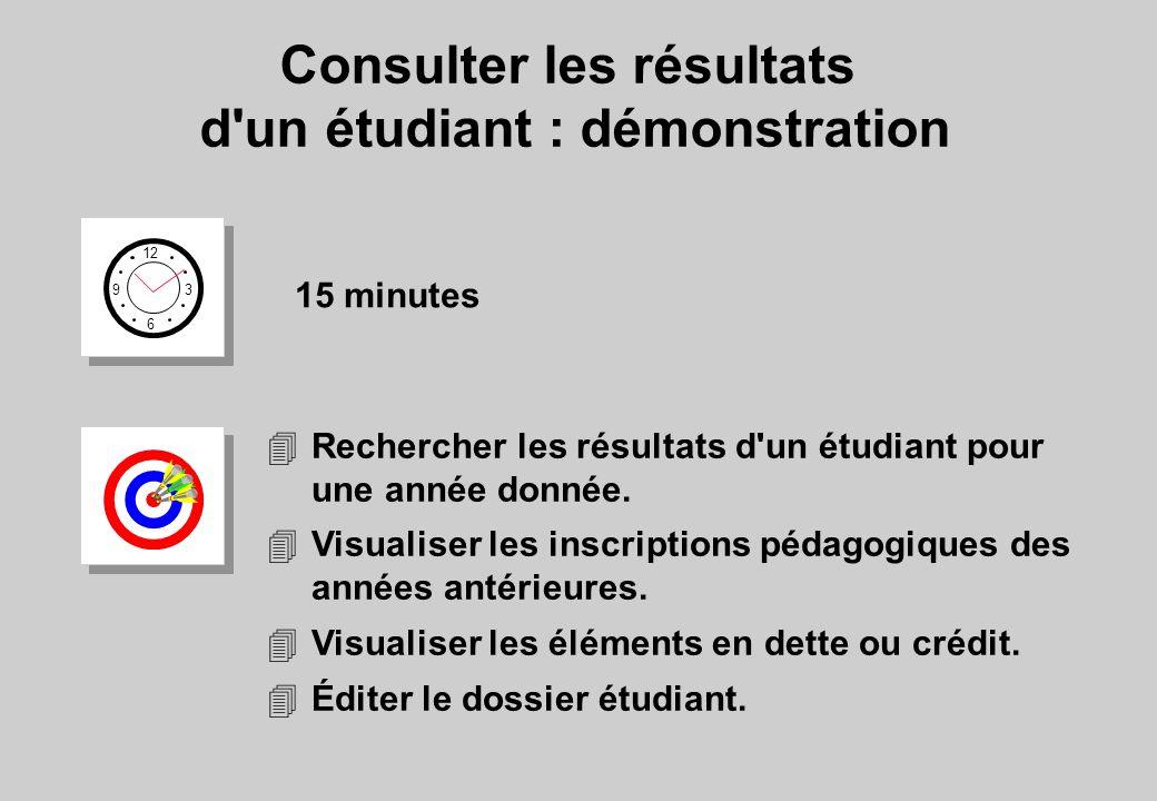 Consulter les résultats d'un étudiant : démonstration 12 6 3 9 15 minutes 4Rechercher les résultats d'un étudiant pour une année donnée. 4Visualiser l