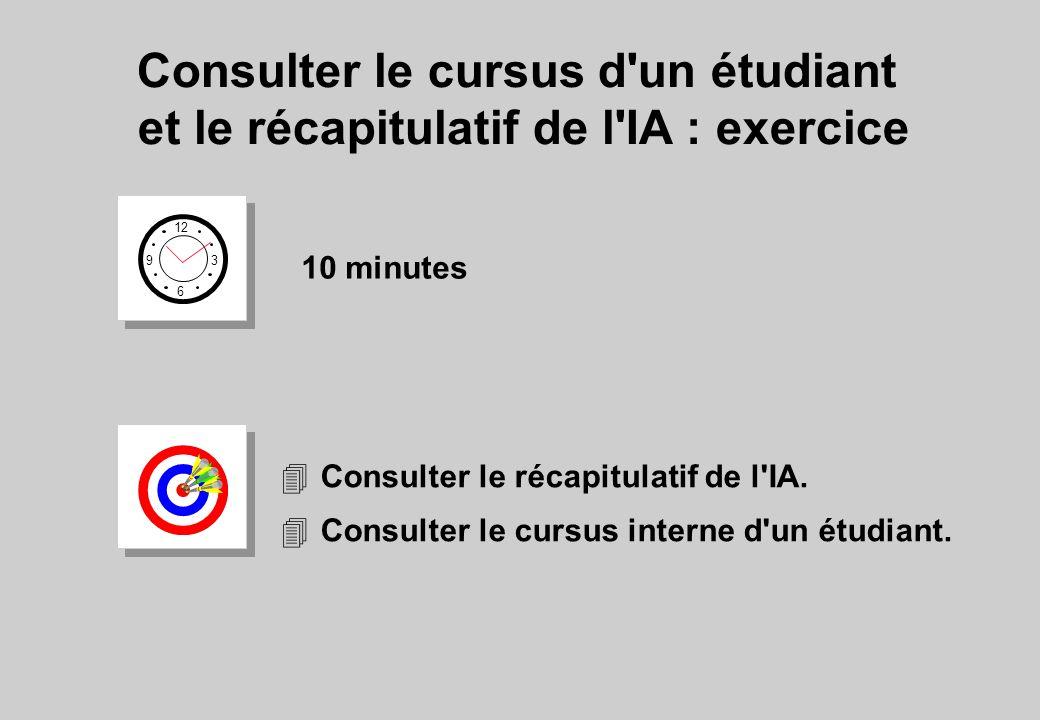 Consulter le cursus d'un étudiant et le récapitulatif de l'IA : exercice 12 6 3 9 10 minutes 4Consulter le récapitulatif de l'IA. 4Consulter le cursus