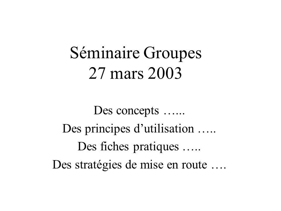 Séminaire Groupes 27 mars 2003 Des concepts …... Des principes dutilisation ….. Des fiches pratiques ….. Des stratégies de mise en route ….