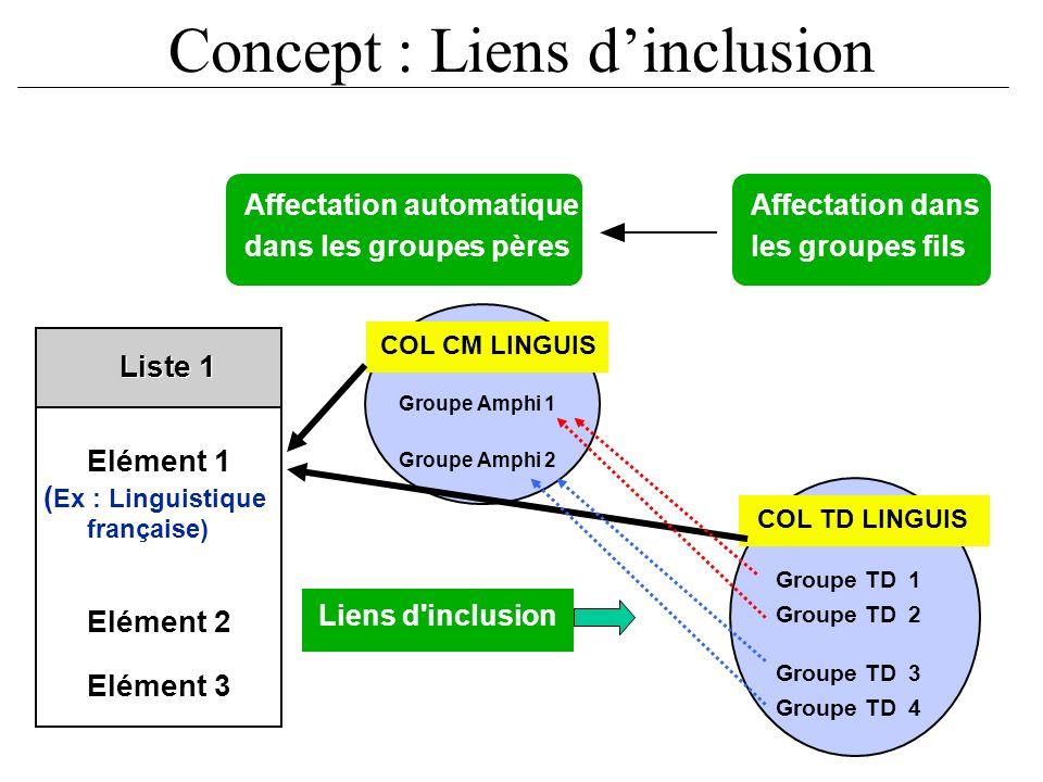 Concept : Liens dinclusion Liens d'inclusion Groupe Amphi 1 Groupe Amphi 2 Elément 1 ( Ex : Linguistique française) Elément 2 Elément 3 Liste 1 COL CM