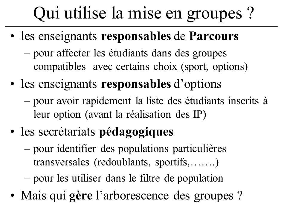 Qui utilise la mise en groupes ? les enseignants responsables de Parcours –pour affecter les étudiants dans des groupes compatibles avec certains choi