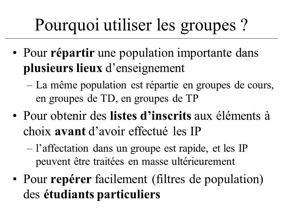 Pourquoi utiliser les groupes ? Pour répartir une population importante dans plusieurs lieux denseignement –La même population est répartie en groupes