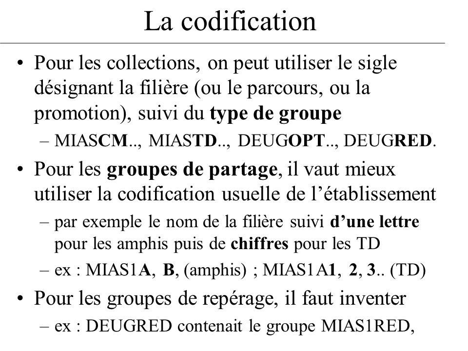 La codification Pour les collections, on peut utiliser le sigle désignant la filière (ou le parcours, ou la promotion), suivi du type de groupe –MIASC