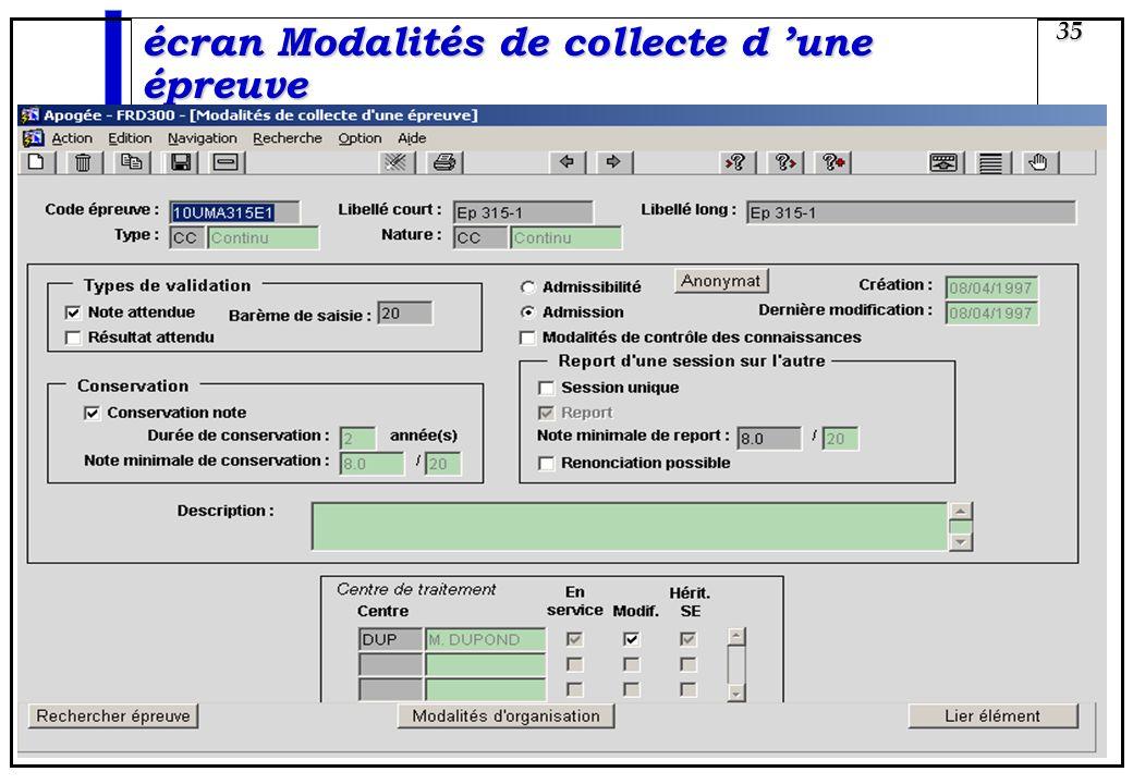 Apogée 35 écran Modalités de collecte d une épreuve
