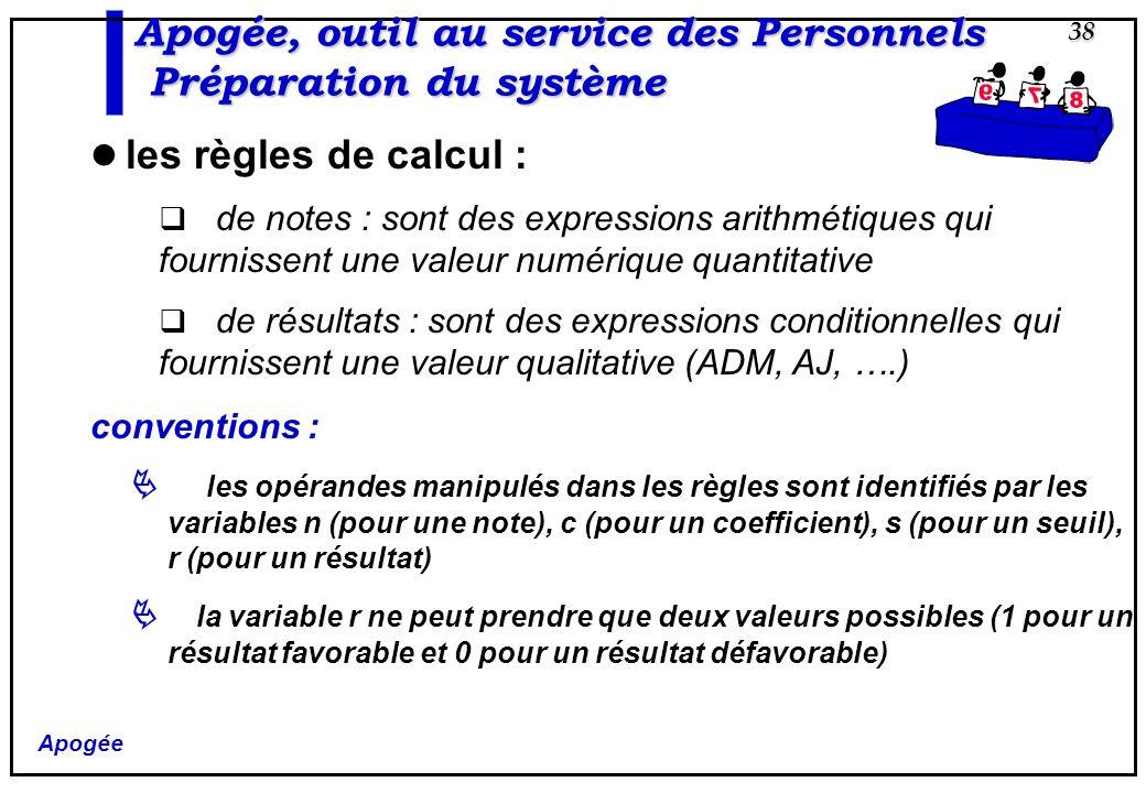 Apogée 38 Apogée, outil au service des Personnels Préparation du système les règles de calcul : de notes : sont des expressions arithmétiques qui four