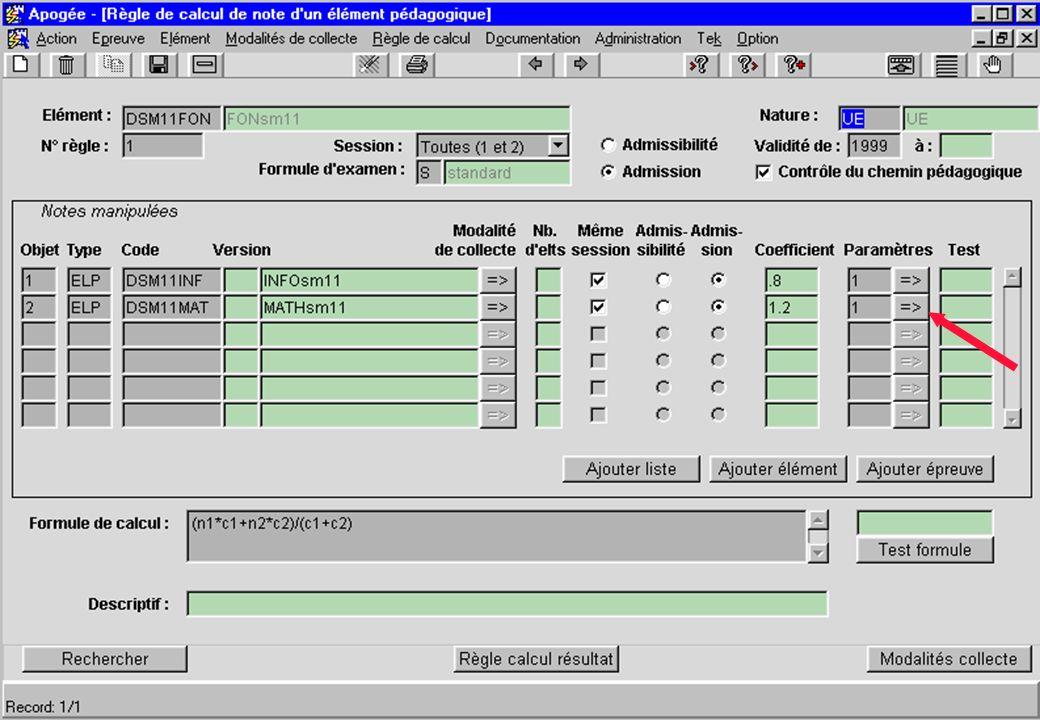 Apogée 39 écran Règle de calcul de note