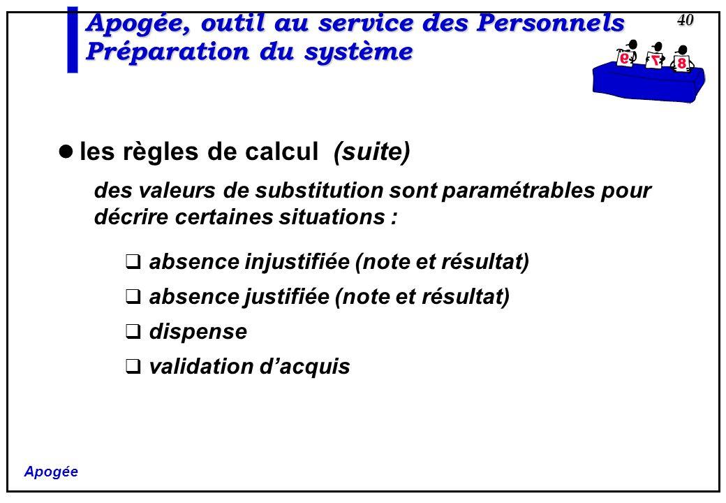 Apogée 40 Apogée, outil au service des Personnels Préparation du système les règles de calcul (suite) des valeurs de substitution sont paramétrables p