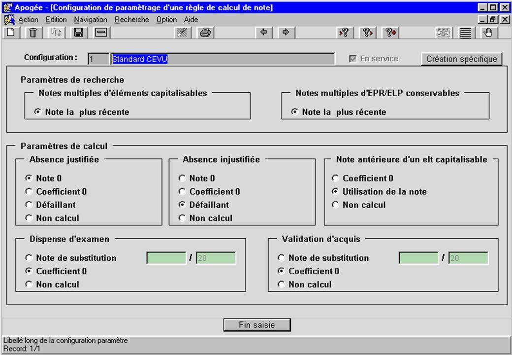 Apogée 41 écran Configuration de paramétrage de règle de calcul