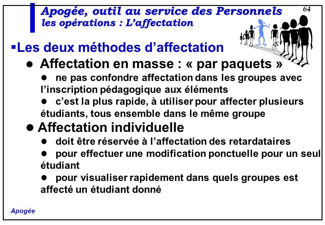 Apogée 64 Apogée, outil au service des Personnels les opérations : Laffectation Les deux méthodes daffectation Affectation en masse : « par paquets »