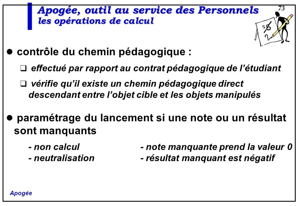 Apogée 73 Apogée, outil au service des Personnels les opérations de calcul contrôle du chemin pédagogique : effectué par rapport au contrat pédagogiqu