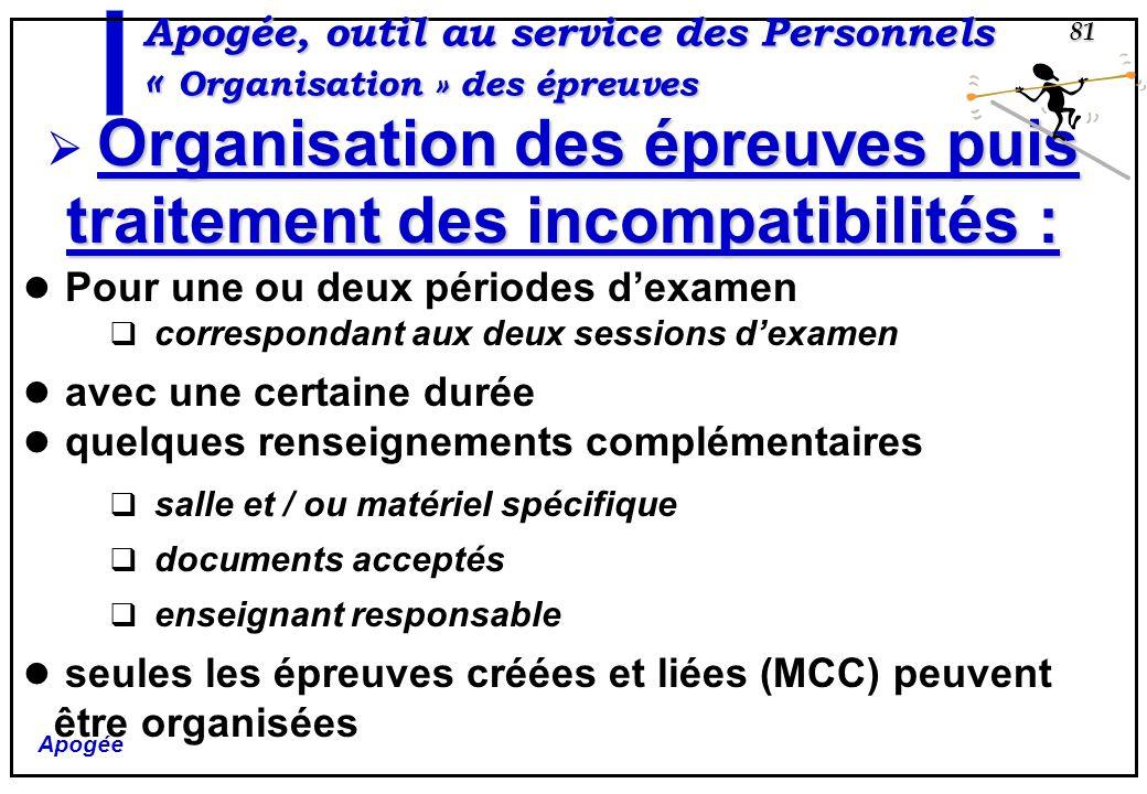 Apogée 81 Apogée, outil au service des Personnels « Organisation » des épreuves Pour une ou deux périodes dexamen correspondant aux deux sessions dexa
