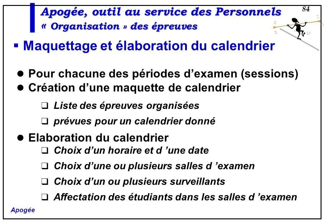Apogée 84 Apogée, outil au service des Personnels « Organisation » des épreuves Maquettage et élaboration du calendrier Pour chacune des périodes dexa