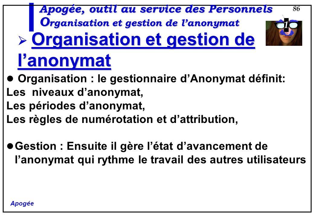Apogée 86 Apogée, outil au service des Personnels O rganisation et gestion de lanonymat Organisation et gestion de lanonymat Organisation : le gestion