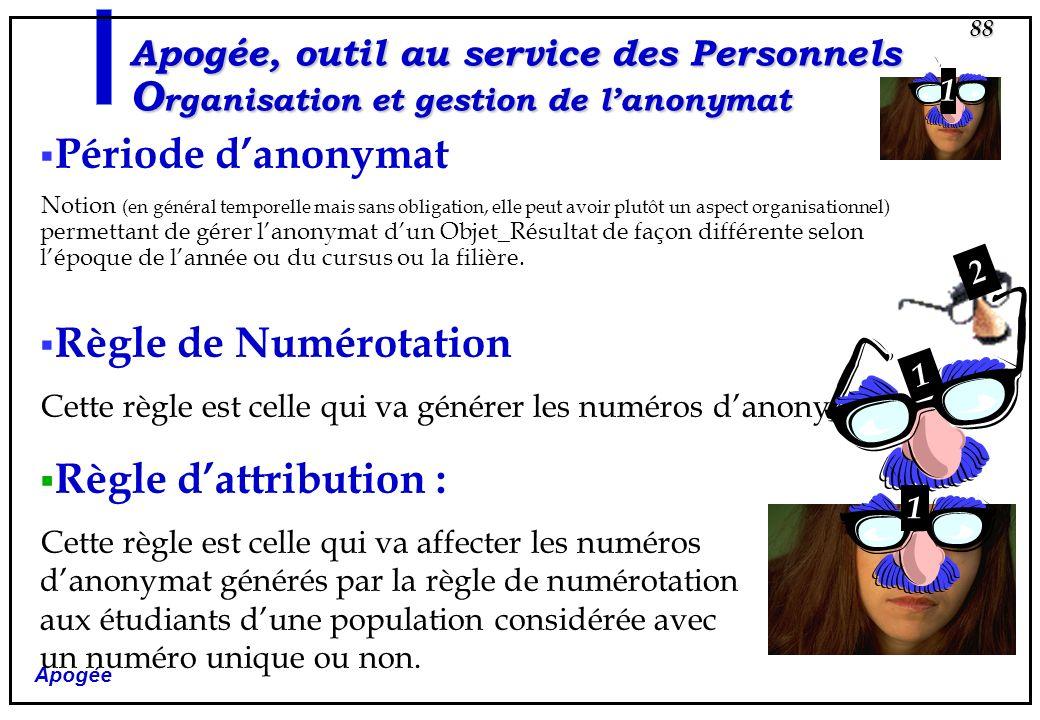 Apogée 88 Règle de Numérotation Cette règle est celle qui va générer les numéros danonymat. 1 2 Règle dattribution : Cette règle est celle qui va affe