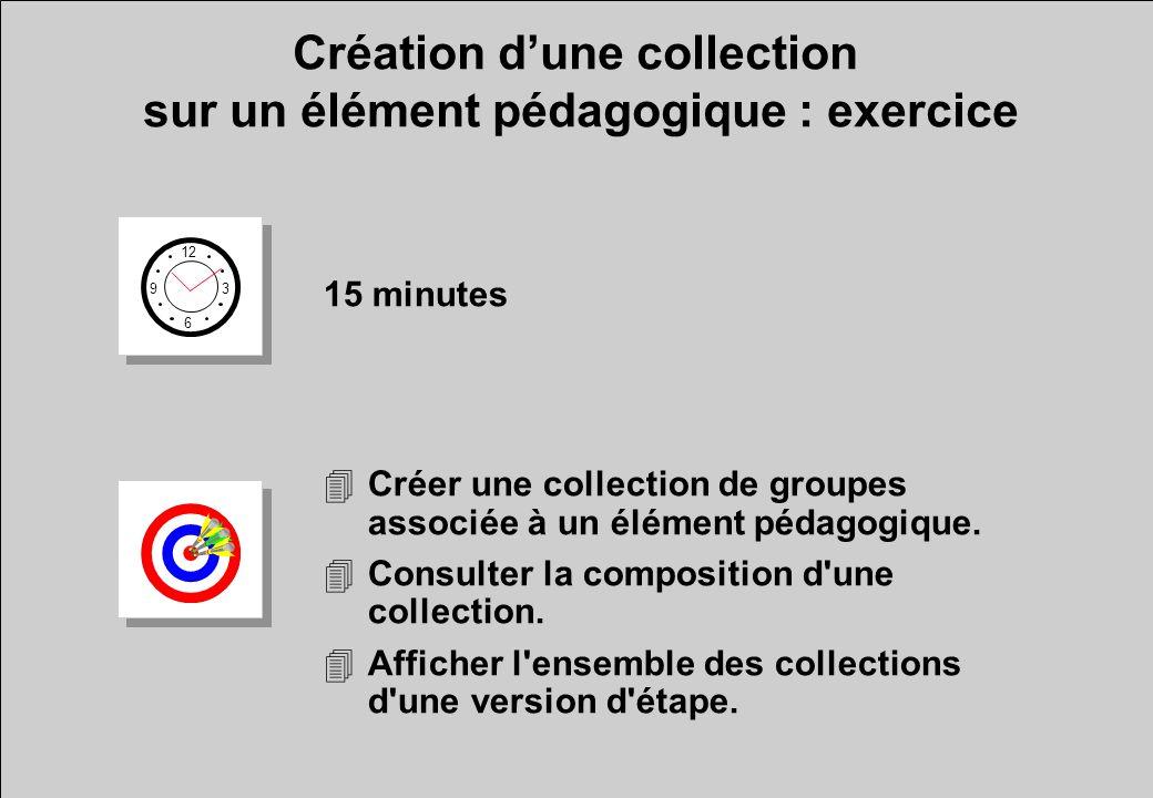 12 6 3 9 15 minutes 4Créer une collection de groupes associée à un élément pédagogique.