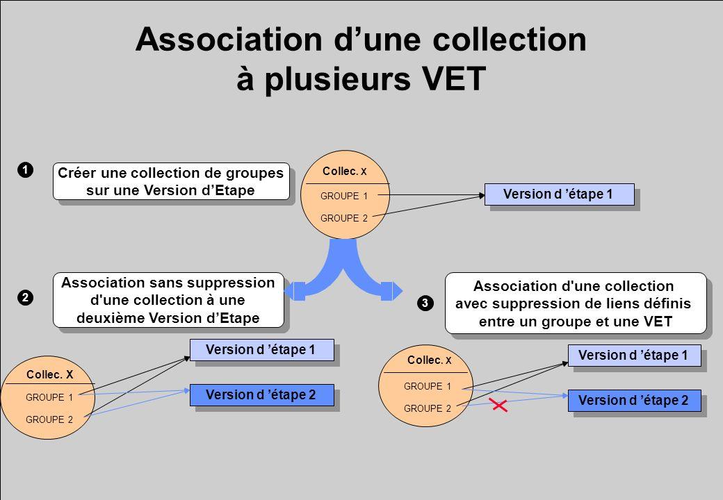 Modification dune collection Supprimer un groupe de la collection Créer un nouveau groupe dans la collection Créer un nouveau groupe dans la collection Elément pédagogique 1 Elément pédagogique 2 Collec.