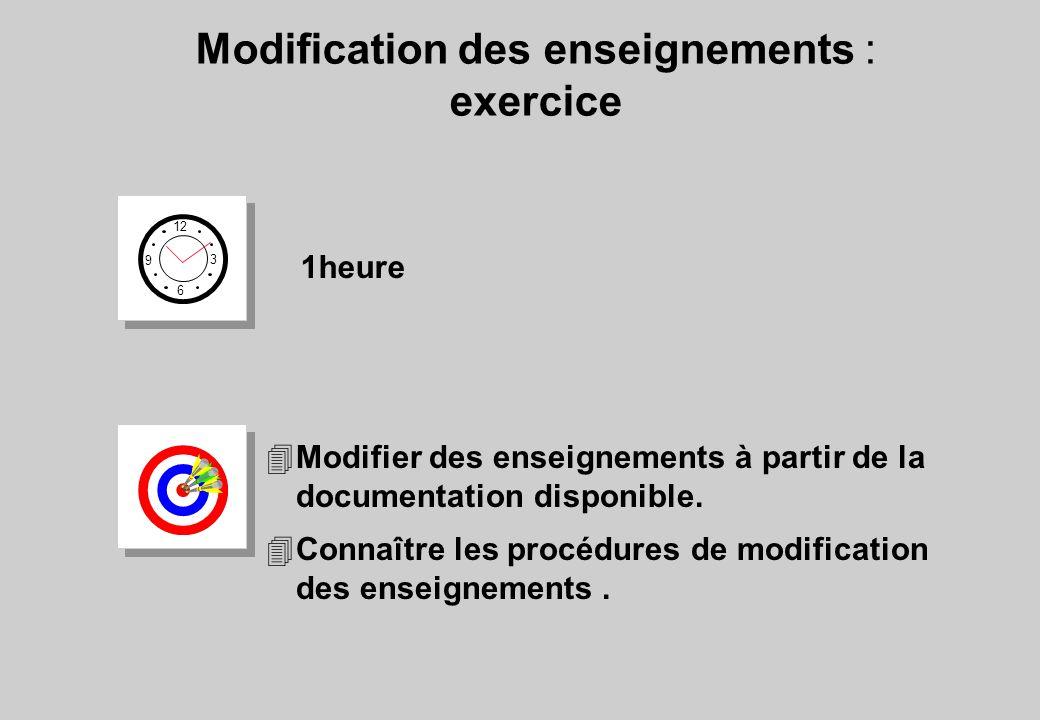 Modification des enseignements : exercice 12 6 3 9 1heure 4Modifier des enseignements à partir de la documentation disponible. 4Connaître les procédur