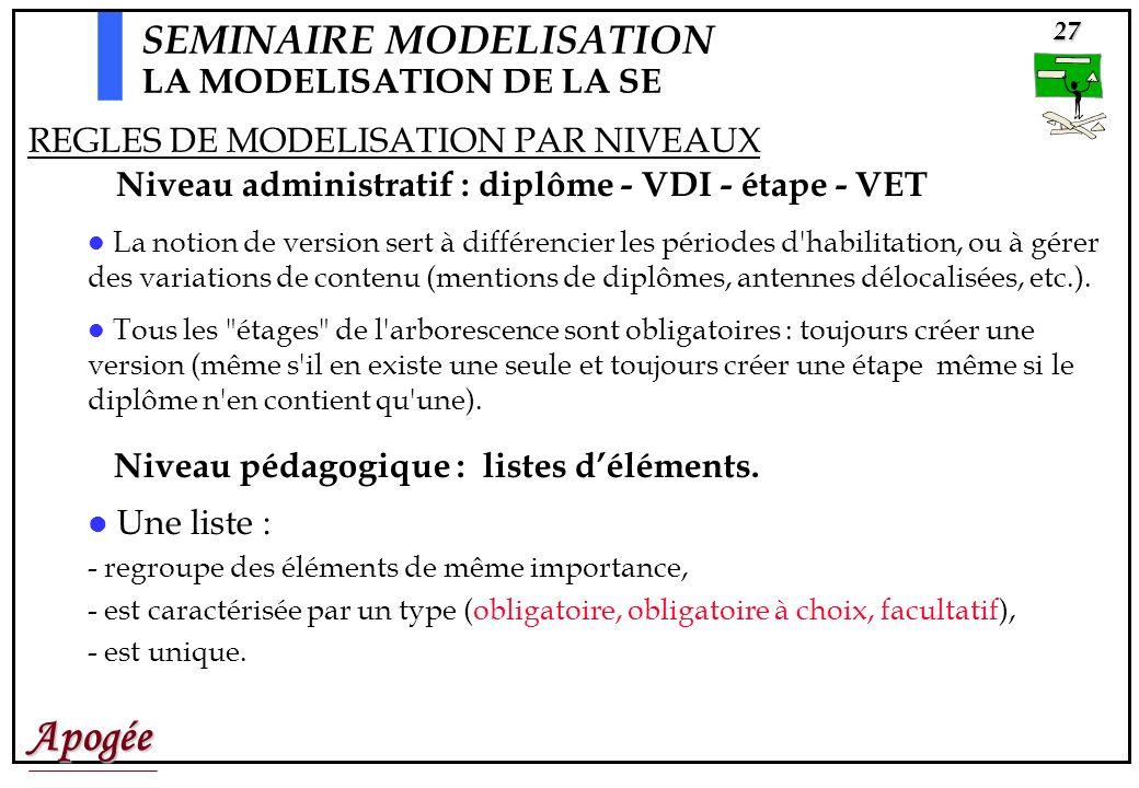 Apogée27 La notion de version sert à différencier les périodes d habilitation, ou à gérer des variations de contenu (mentions de diplômes, antennes délocalisées, etc.).