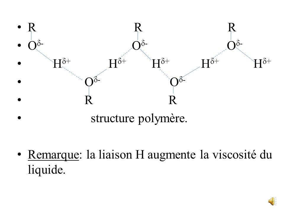 La valeur élevée des Teb des alcools est due à lexistence de liaisons intermoléculaires appelées liaisons hydrogène. les association entre molécules p