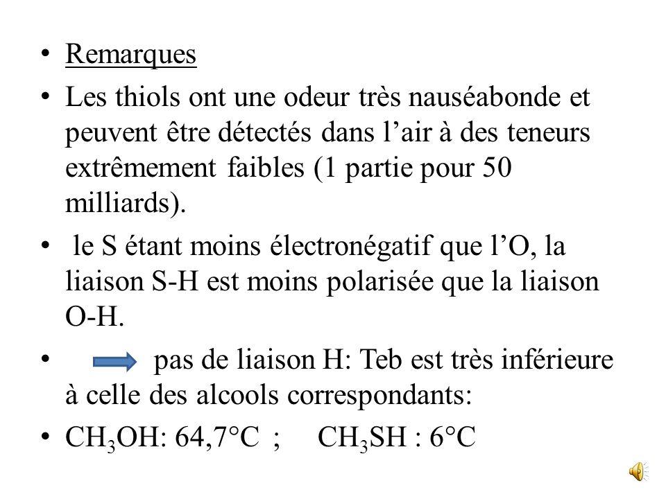 Les thiols; les thioéthers Les thiols, encore appelés mercaptans, et les thioéthers sont respectivement analogues aux alcools et aux éthers-oxydes, un