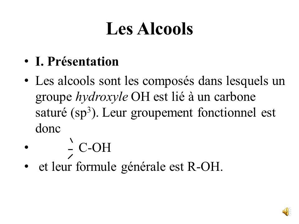 Fonctions hydroxyles et dérivés Les Alcools Les éthers-oxydes; les thiols