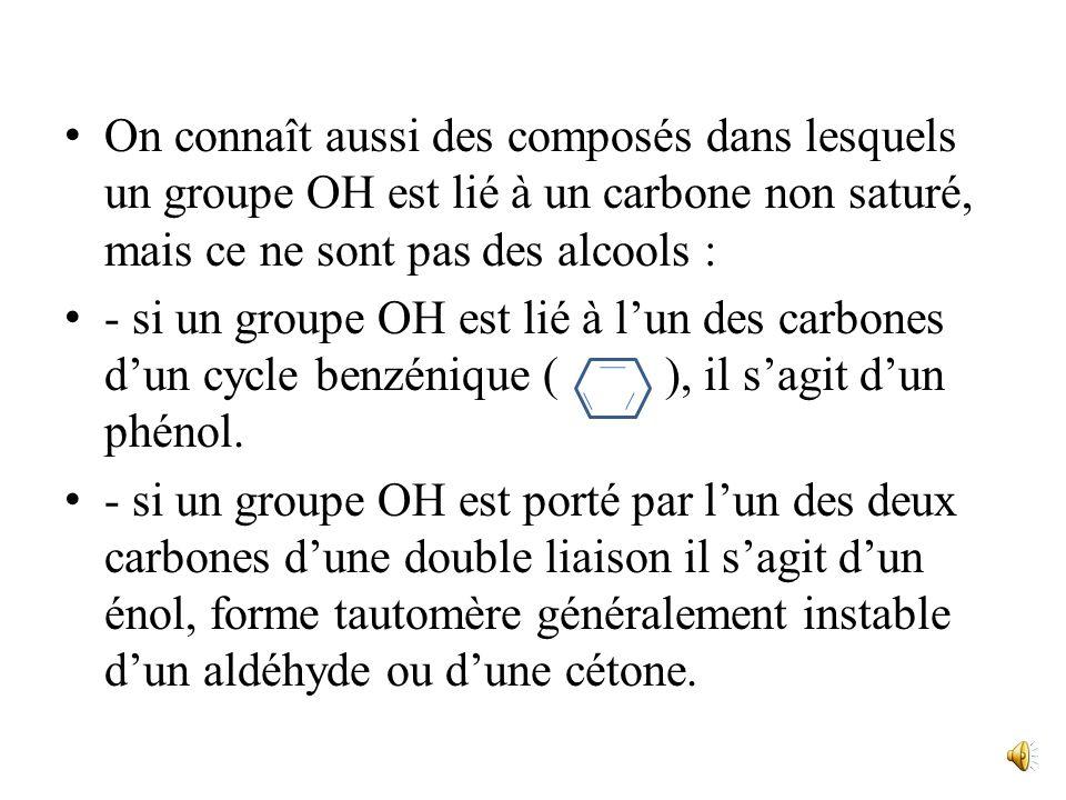 Les Alcools I. Présentation Les alcools sont les composés dans lesquels un groupe hydroxyle OH est lié à un carbone saturé (sp 3 ). Leur groupement fo