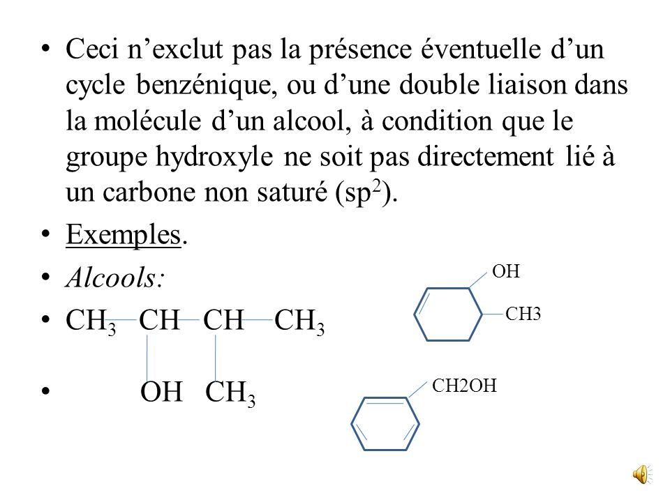 On connaît aussi des composés dans lesquels un groupe OH est lié à un carbone non saturé, mais ce ne sont pas des alcools : - si un groupe OH est lié