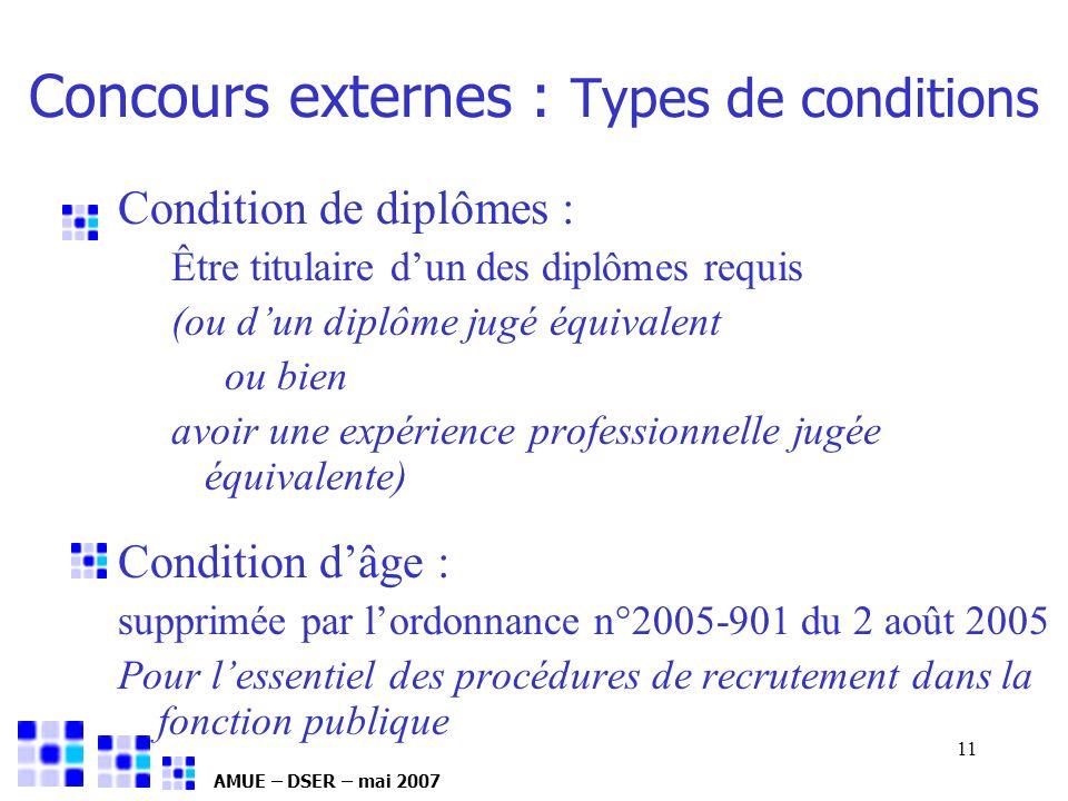 AMUE – DSER – mai 2007 11 Concours externes : Types de conditions Condition de diplômes : Être titulaire dun des diplômes requis (ou dun diplôme jugé